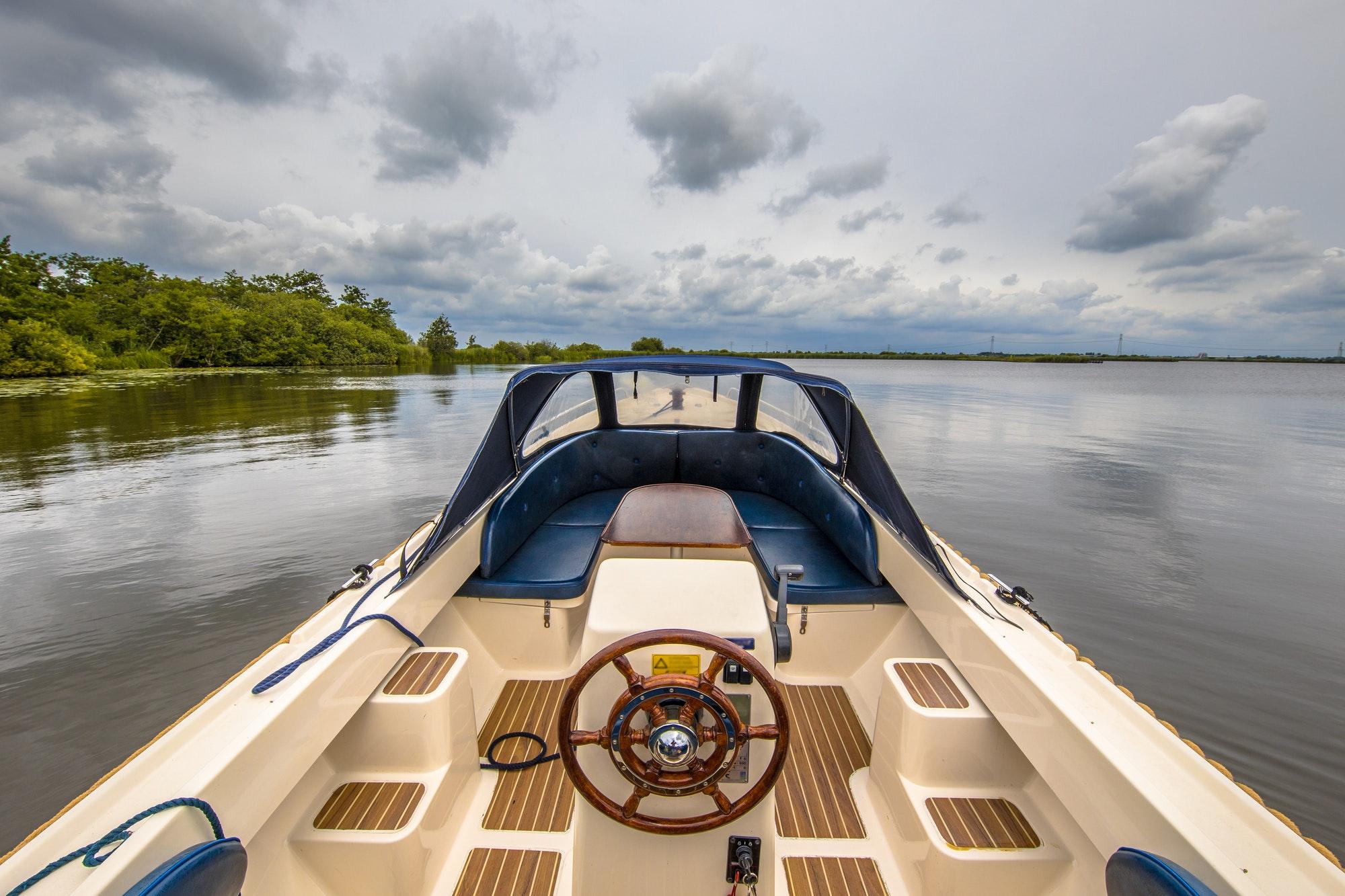 Boat sailing on lake Sneekermeer