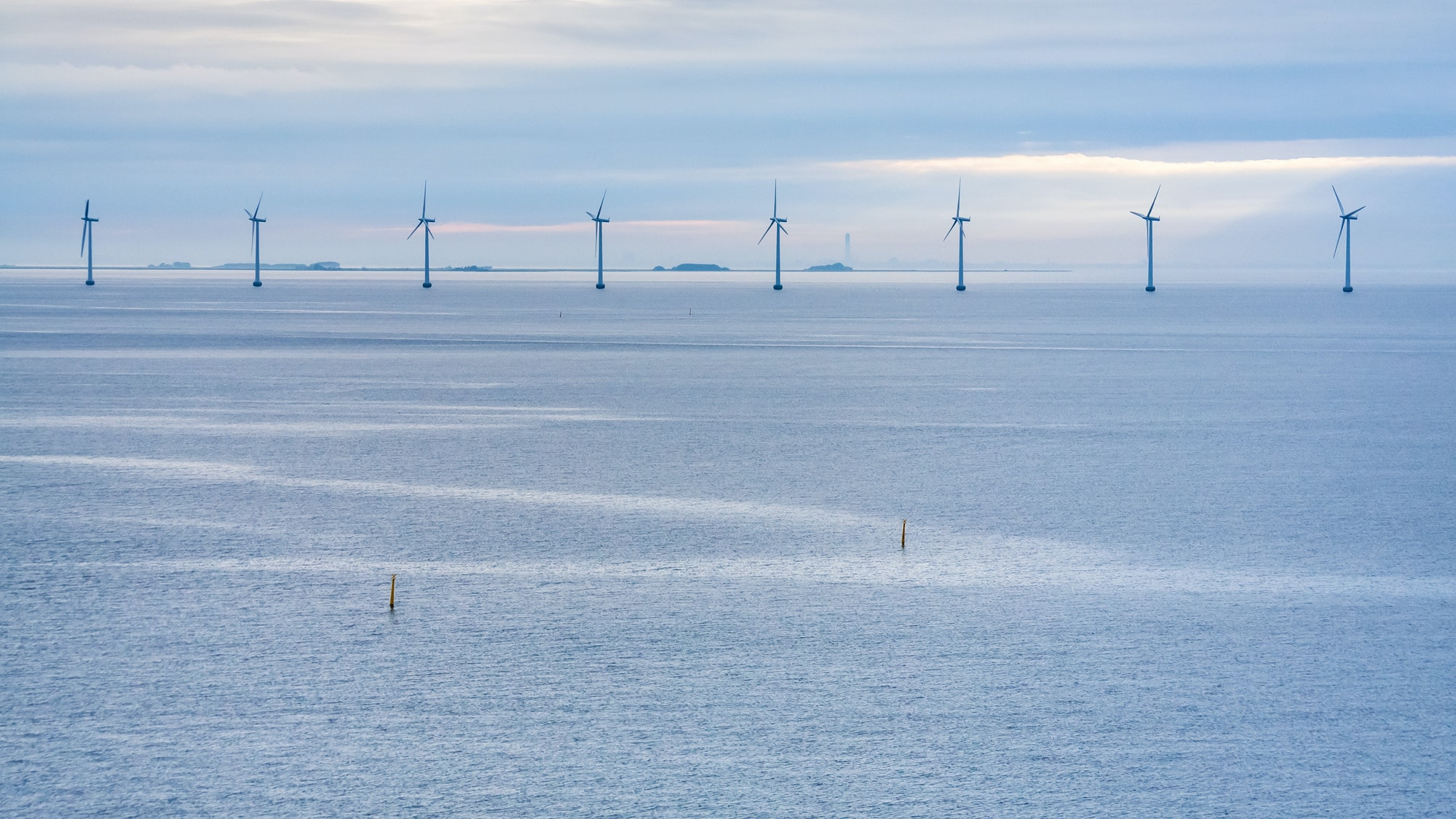 panorama of Baltic Sea with offshore wind farm